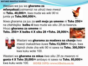 chicken management swahili 013 300x225 Ufugaji wa kuku: Namna ya kuanza na mchanganuo wa mapato na matumizi